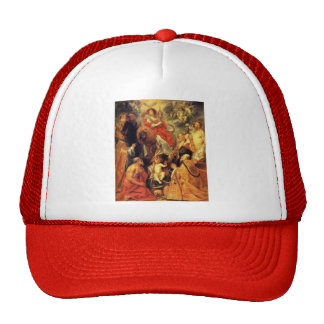 The veneration of the Eucharist by Jacob Jordaens Trucker Hat