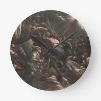 The Venetians Capturing Padua (oil on canvas) Round Clock