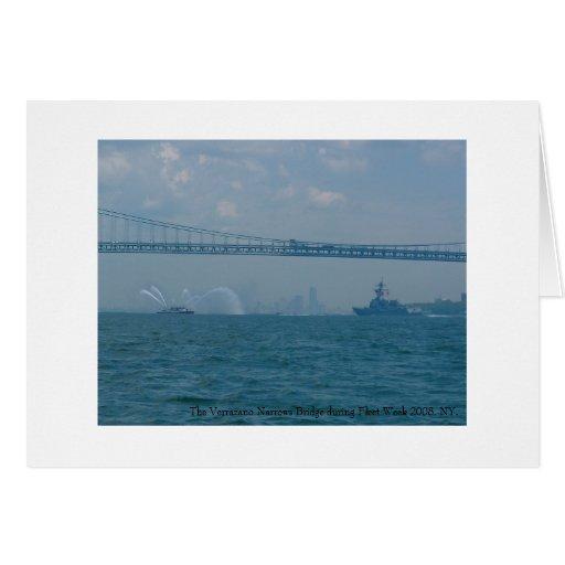 The Verrazano Narrows Bridge and Fleet Week 2008. Greeting Card