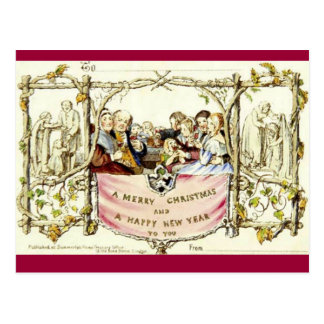 The Very First Christmas Card 1843 Postcard