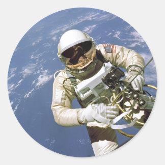 The Very First U.S. Spacewalk - June 3rd, 1965 Classic Round Sticker