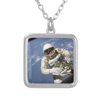 The Very First U.S. Spacewalk - June 3rd, 1965 Silver Plated Necklace
