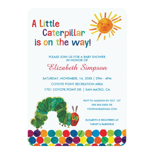 the very hungry caterpillar baby shower card | zazzle, Baby shower invitations