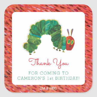 The Very Hungry Caterpillar Birthday   Thank You Square Sticker