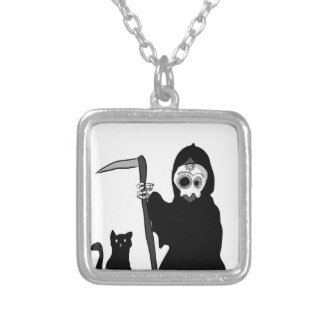 The very small death The little grim to reaper Square Pendant Necklace