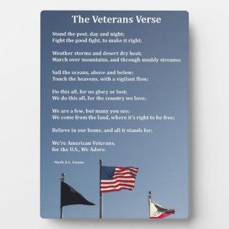 The Veterans Verse Plaque