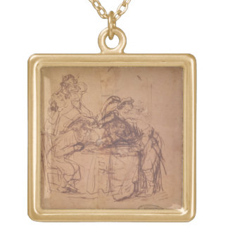 The Vices of the Prodigal Son (pen and ink on pape Square Pendant Necklace