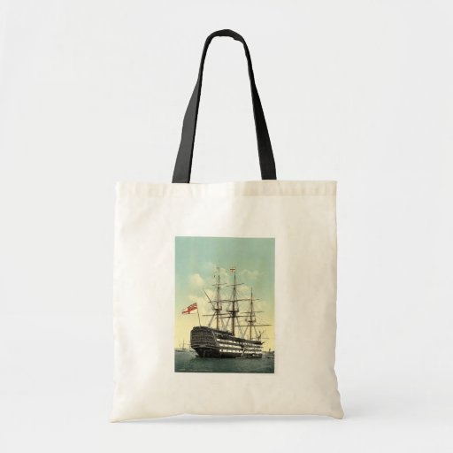 "The ""Victory"" (Nelson's Flagship), stern, Portsmou Budget Tote Bag"