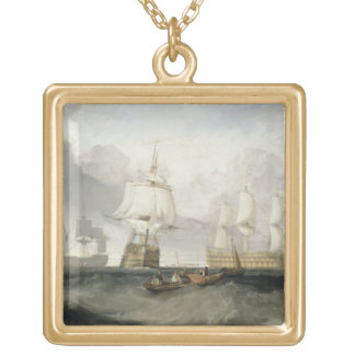 The 'Victory' Returning from Trafalgar, 1806 (oil Square Pendant Necklace