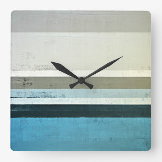 'The View' Blue and Grey Abstract Art Square Wall Clock