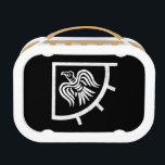 """The Vikings Raven Banner Flag Lunch Box<br><div class=""""desc"""">A black and white,  distressed illustration of the viking flag called the raven banner.</div>"""