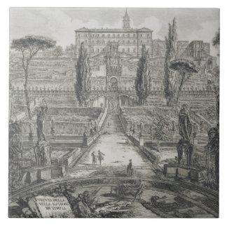 The Villa d'Este at Tivoli (engraving) Ceramic Tile