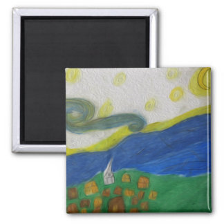 The Village 2 Inch Square Magnet