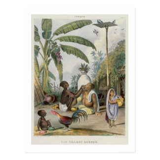 The Village Barber, plate 6 from 'Indians', engrav Postcard