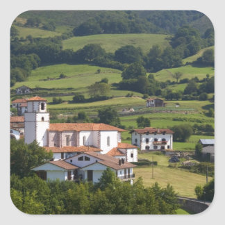 The village of Amaiur in the Baztan Valley of Square Stickers