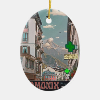 The Village of Chamonix - BonW Double-Sided Oval Ceramic Christmas Ornament