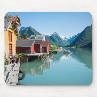 The village of Fjærland and fjord, Norway mousepad