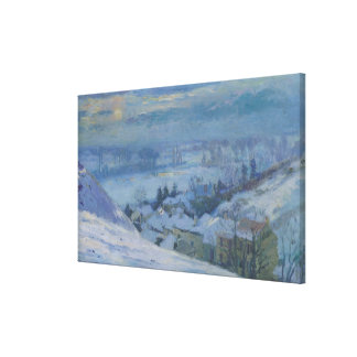 The Village of Herblay under snow, 1895 Canvas Print