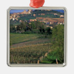 The village of San Gimignano sits in the rolling Square Metal Christmas Ornament