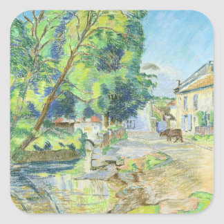 The Village (pastel on paper) Square Sticker