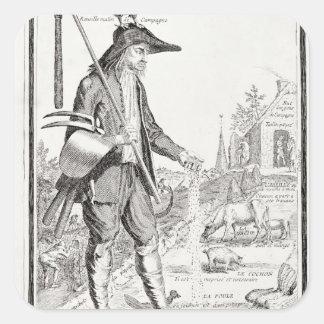 The Village Peasant, Born to Suffer, c.1780 Square Sticker