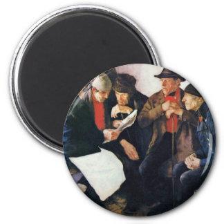 The Village Politicians By Leibl Wilhelm Fridge Magnet