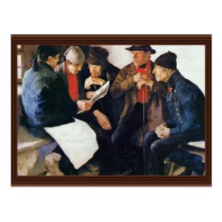 The Village Politicians By Leibl Wilhelm Postcard