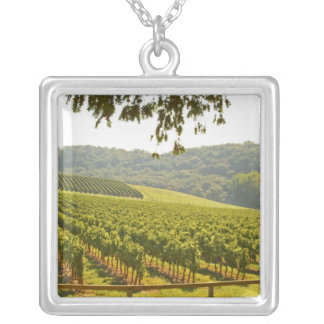The vineyard and a valley with a forest - square pendant necklace