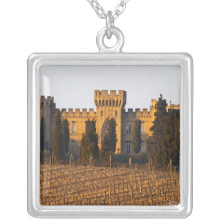 The vineyard with syrah vines and the chateau square pendant necklace