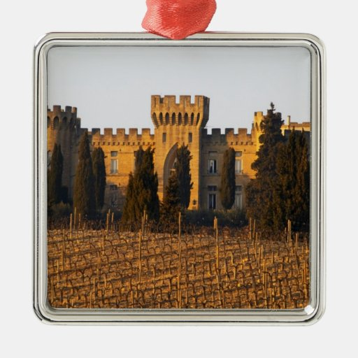 The vineyard with syrah vines and the chateau square metal christmas ornament