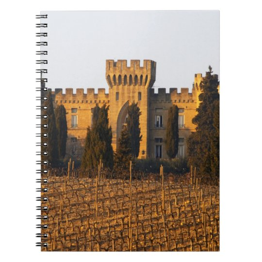The vineyard with syrah vines and the chateau spiral notebook