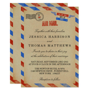 The Vintage Airmail Wedding Collection Card at Zazzle