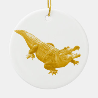 THE VINTAGE ALLIGATOR Double-Sided CERAMIC ROUND CHRISTMAS ORNAMENT