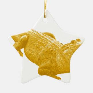 THE VINTAGE ALLIGATOR Double-Sided STAR CERAMIC CHRISTMAS ORNAMENT