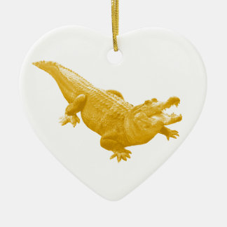 THE VINTAGE ALLIGATOR Double-Sided HEART CERAMIC CHRISTMAS ORNAMENT