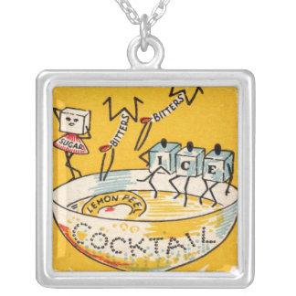 The Vintage Cocktail Square Pendant Necklace