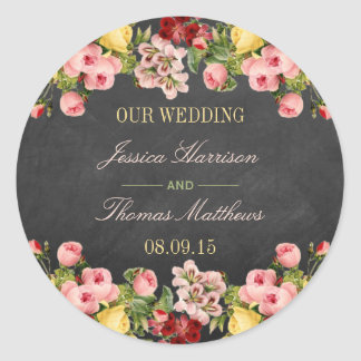 The Vintage Floral Chalkboard Wedding Collection Classic Round Sticker