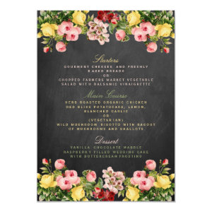The Vintage Floral Chalkboard Wedding Collection 4.5x6.25 Paper Invitation Card