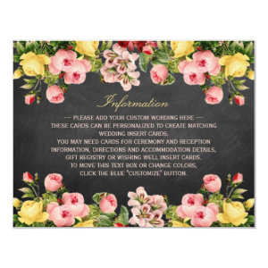 The Vintage Floral Chalkboard Wedding Collection 4.25x5.5 Paper Invitation Card
