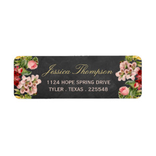 The Vintage Floral Chalkboard Wedding Collection Label at Zazzle