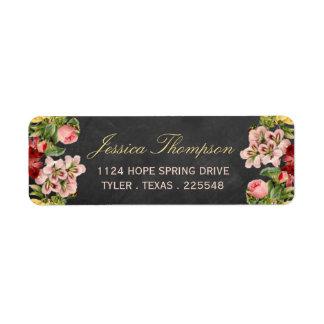 The Vintage Floral Chalkboard Wedding Collection Return Address Label