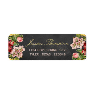 The Vintage Floral Chalkboard Wedding Collection Label