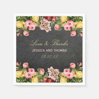 The Vintage Floral Chalkboard Wedding Collection Napkin