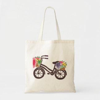 The Vintage Flowers Bike Pattern Tote Bag