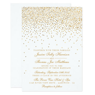 The Vintage Glam Gold Confetti Wedding Collection Card at Zazzle