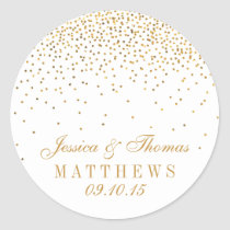 The Vintage Glam Gold Confetti Wedding Collection Classic Round Sticker
