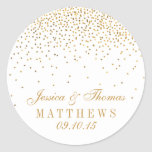 "The Vintage Glam Gold Confetti Wedding Collection Classic Round Sticker<br><div class=""desc"">The Vintage Glam Gold Confetti Wedding Collection - Stickers.  *Please note that Zazzle only sells printed products,  therefore this item does not include any real glitter or foil materials.</div>"