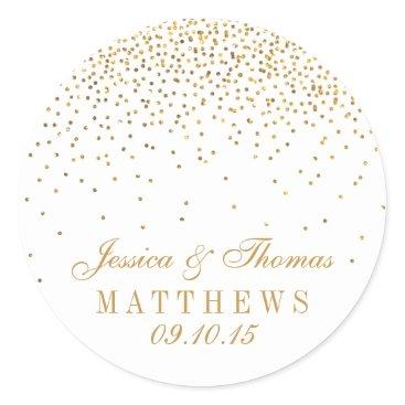 Invitation_Republic The Vintage Glam Gold Confetti Wedding Collection Classic Round Sticker