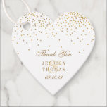 "The Vintage Glam Gold Confetti Wedding Collection Favor Tags<br><div class=""desc"">Celebrate in style with these trendy favor tags. Easily add your own custom wording using the ""customize this template"" section. These favor tags are perfect for weddings,  bridal showers,  baby showers,  etc.</div>"