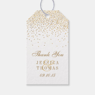 Wedding gift tags zazzle the vintage glam gold confetti wedding collection gift tags negle Gallery